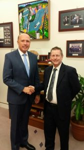 Andrew Clacher and Minister Peter Dutton